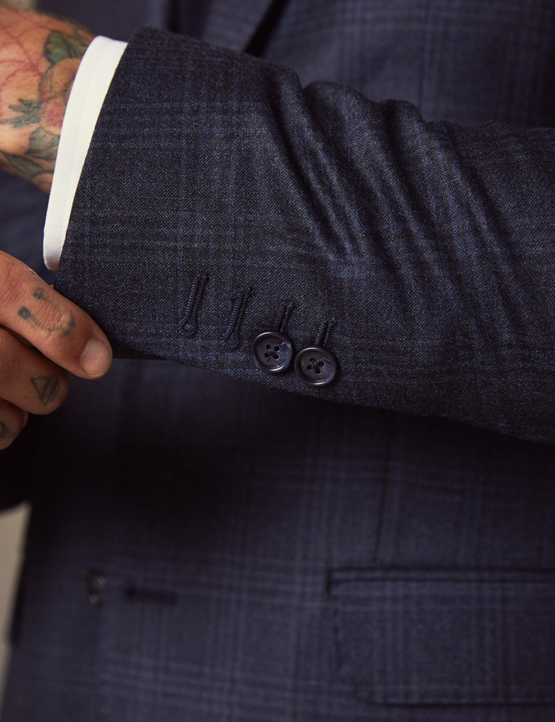 Men's Dark Blue Shadow Plaid Tailored Fit Italian Suit – 1913 Collection
