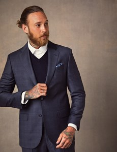 Men's Dark Blue Shadow Check Tailored Fit Italian Suit – 1913 Collection