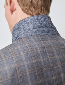 Men's Grey & Brown Subtle Check Tailored Fit Italian Suit Jacket – 1913 Collection