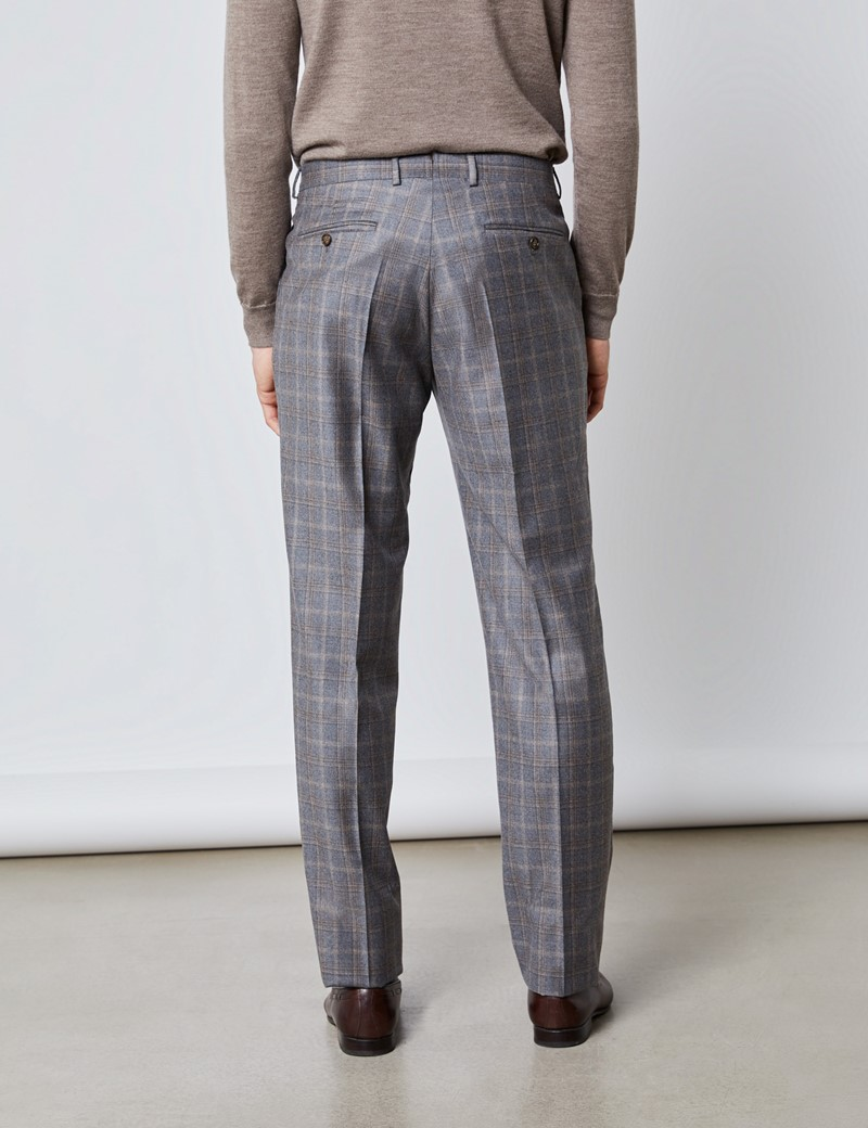 Men's Grey & Brown Subtle Check Tailored Fit Italian Suit – 1913 Collection