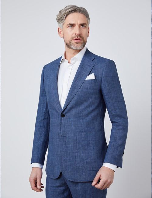 Men's Blue Check Linen Slim Fit Italian Suit Jacket