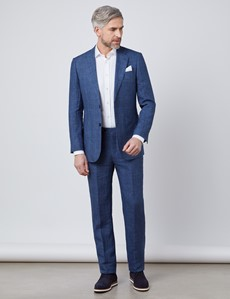 Men's Blue Check Linen Slim Fit Italian Suit Jacket