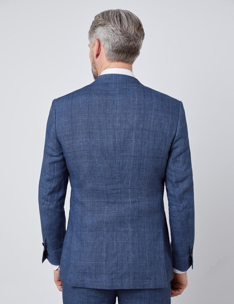 Men's Blue Check Linen Slim Fit Italian Suit