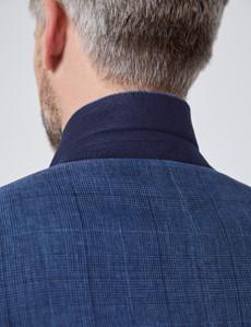 Leinenanzug – Slim Fit – 2-Knopf Einreiher – blau Gitter-Karo