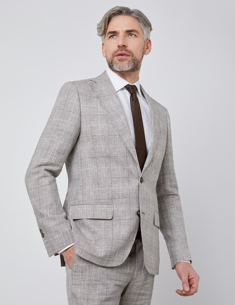 Men's Brown Plaid Linen Slim Fit Italian Suit Jacket - 1913 Collection