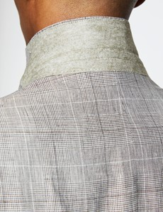 Men's Brown Check Linen Slim Fit Italian Suit Jacket