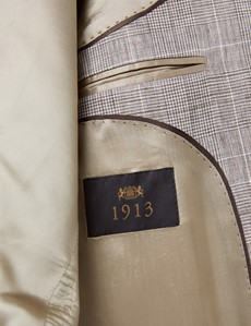 Men's Brown Check Linen Slim Fit Italian Suit - 1913 Collection