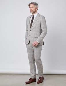 Men's Brown Plaid Linen Slim Fit Italian Suit