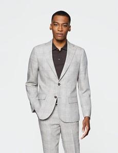 Men's Brown Check Linen Slim Fit Italian Suit