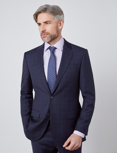 Men's Navy Tonal Check Tailored Fit Italian Suit Jacket - 1913 Collection