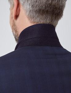 Men's Navy Tonal Plaid Tailored Fit Italian Suit Jacket - 1913 Collection
