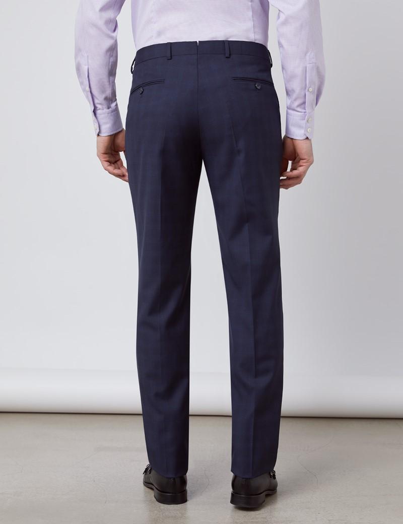 Anzug 1913 Kollektion - Tailored Fit - dunkelblau feines Karo - 110S Wolle - 2-Knopf Einreiher
