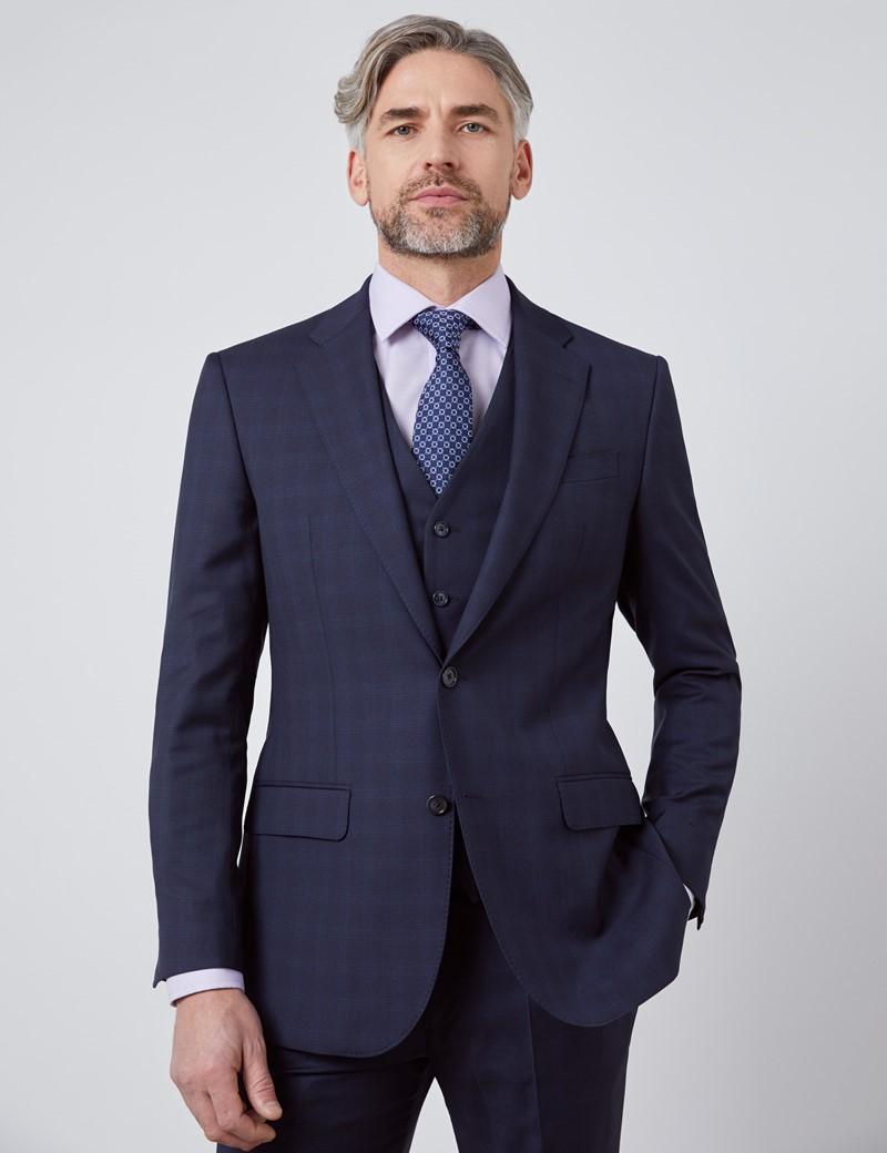 Men's Navy Tonal Plaid Tailored Fit Italian Suit - 1913 Collection