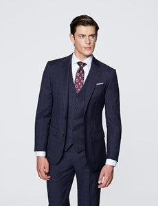 Men's Navy Tonal Check Tailored Fit Italian Suit - 1913 Collection