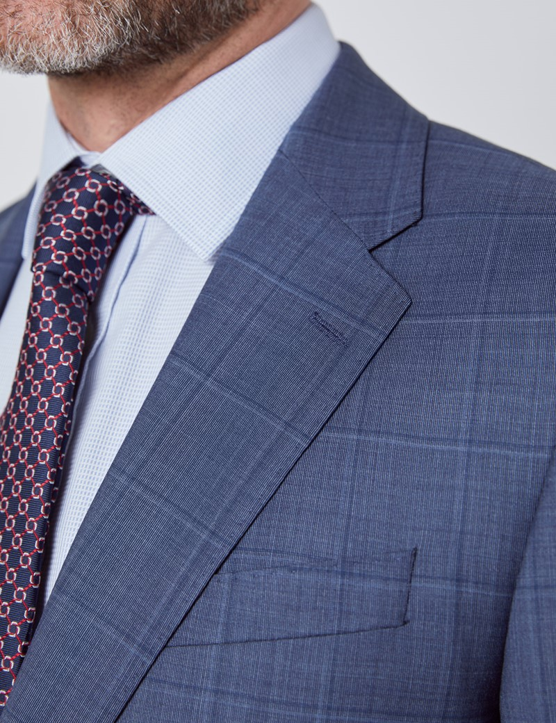 Men's Blue Tonal Check Tailored Fit Italian Suit Jacket - 1913 Collection