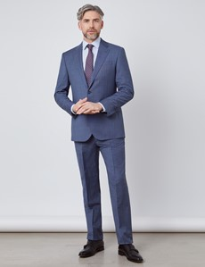 Men's Blue Tonal Plaid Tailored Fit Italian Suit - 1913 Collection