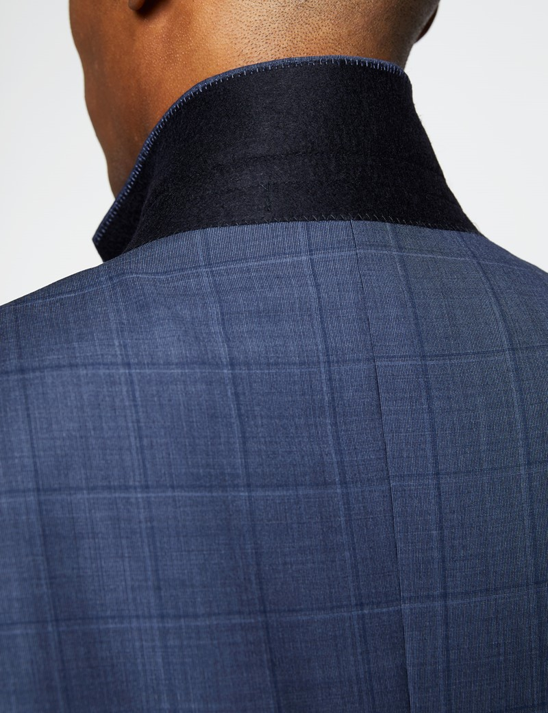 Men's Blue Tonal Check Tailored Fit Italian Suit - 1913 Collection