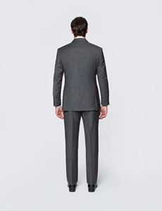 Men's Dark Grey Tonal Check Tailored Fit Italian Suit Jacket - 1913 Collection