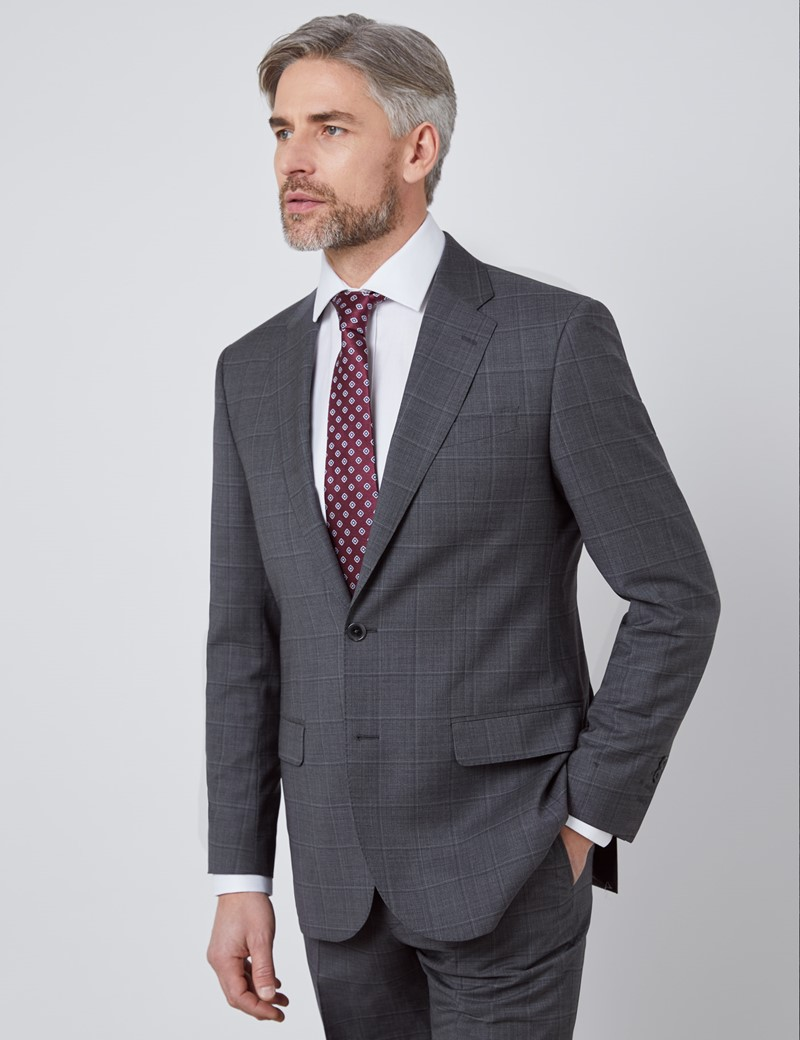 Men's Dark Gray Tonal Plaid Tailored Fit Italian Suit - 1913 Collection