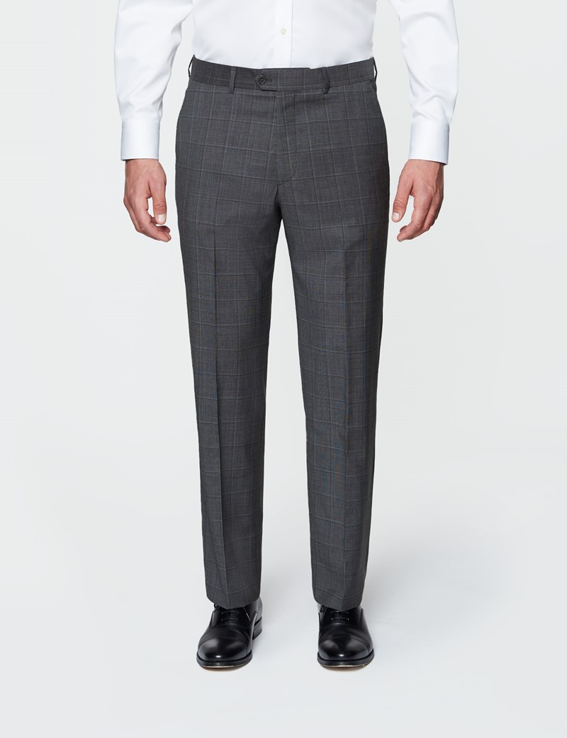 Men's Dark Grey Tonal Check Tailored Fit Italian Suit - 1913 Collection