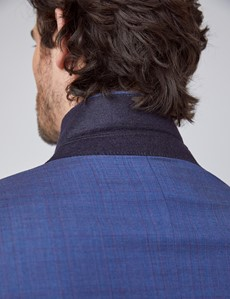 Men's Blue & Purple Grid Check Tailored Fit Italian Suit Jacket - 1913 Collection