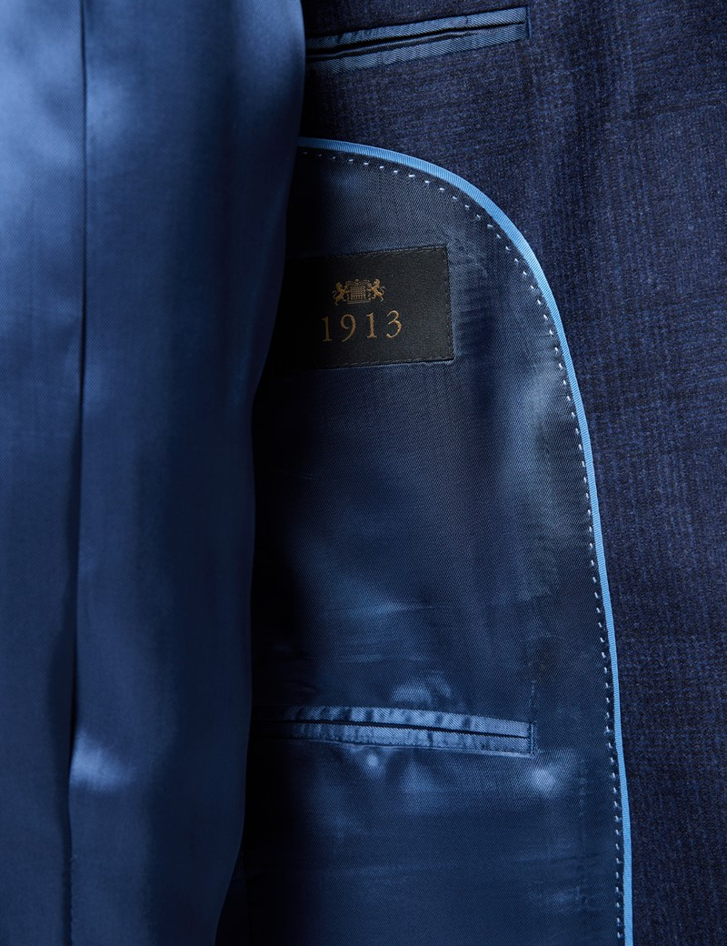 Men's Navy Prince Of Wales Check Tailored Fit Italian Suit Jacket - 1913 Collection