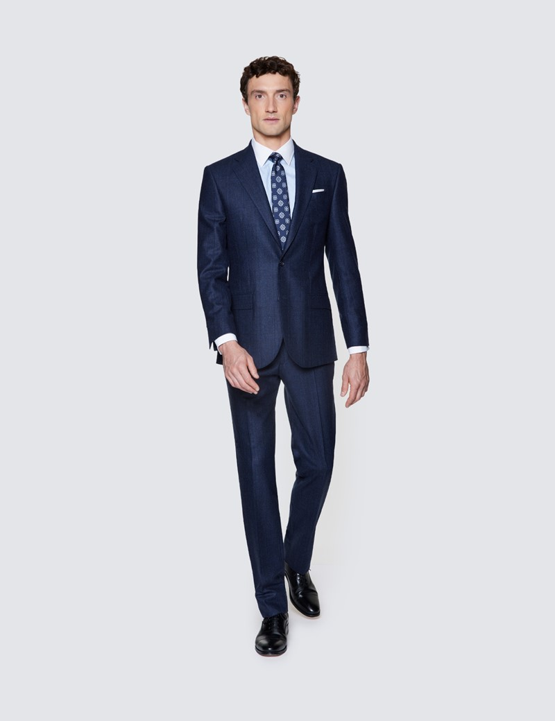 Men's Navy Prince Of Wales Check Tailored Fit Italian Suit - 1913 Collection