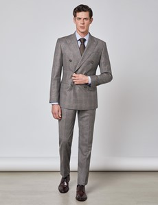 Men's Brown & Orange Prince Of Wales Plaid Tailored Fit Double Breasted Italian Suit Jacket - 1913 Collection