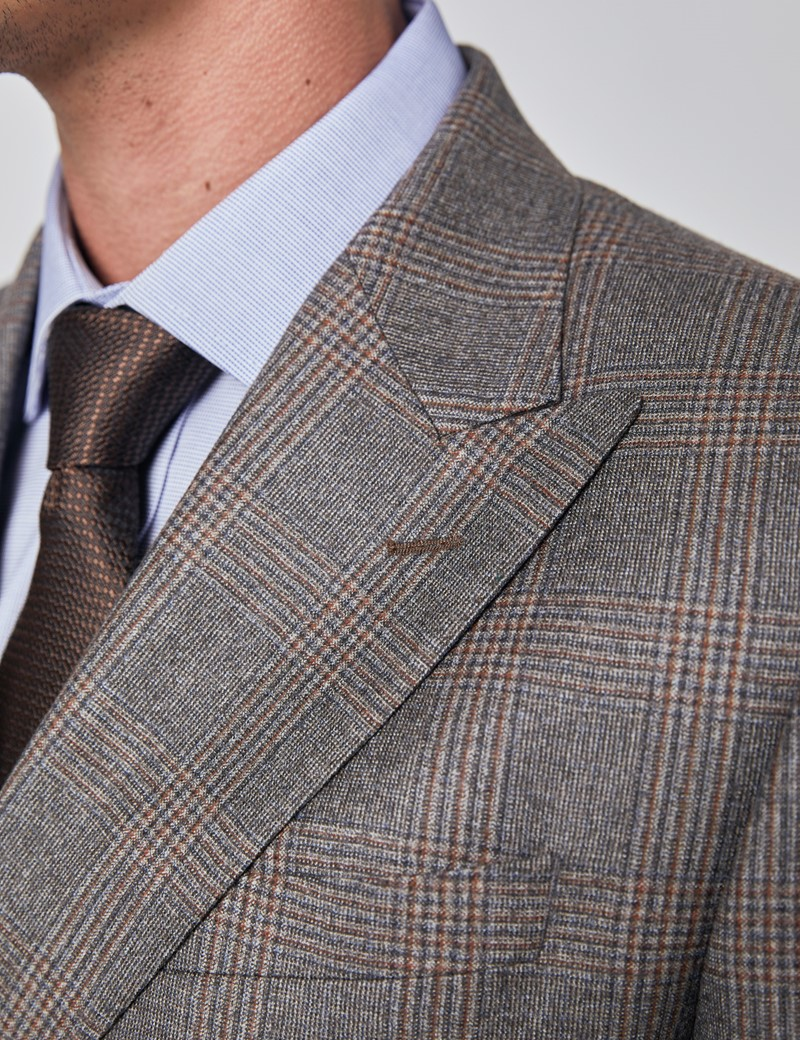 Men's Brown & Orange Prince Of Wales Check Tailored Fit Double Breasted Italian Suit Jacket - 1913 Collection