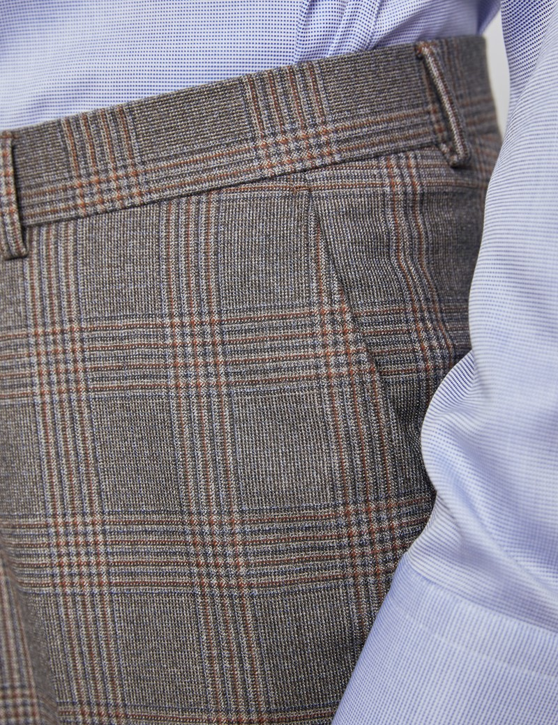 Men's Brown & Orange Prince Of Wales Check Tailored Fit Double Breasted Italian Suit - 1913 Collection