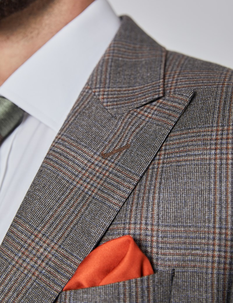 Anzugsakko - Classic Fit - braun orange Prince of Wales Karo  - 130S Wolle - 2-Knopf Einreiher