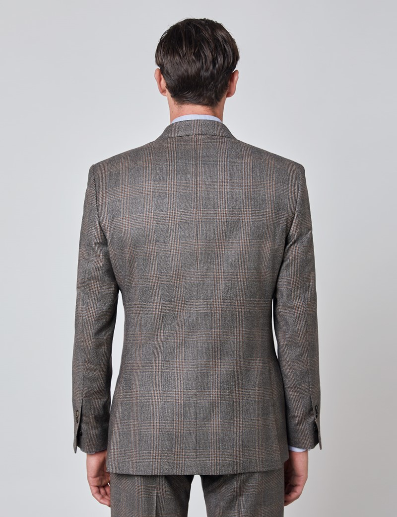 Men's Brown & Orange Prince Of Wales Plaid Tailored Fit Italian Suit Jacket with Peak Lapel - 1913 Collection