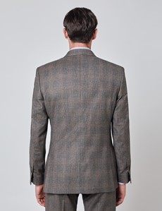 Men's Brown & Orange Prince Of Wales Check Tailored Fit Italian Suit with Peak Lapel - 1913 Collection