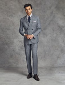 Men's Grey & Light Blue Small Plaid Extra Slim Fit Suit Jacket - Double Breasted
