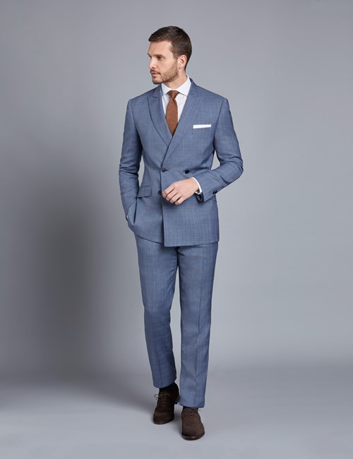 Men's Light Blue Prince Of Wales Check Slim Fit Suit