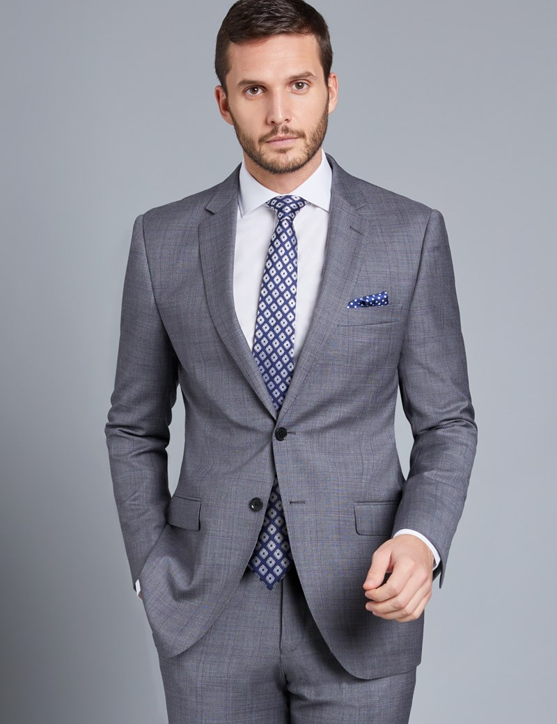 Men's Grey & Lilac Contrast Plaid Slim Fit Suit Jacket