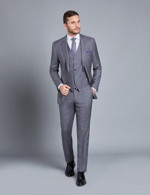 Men's Grey & Lilac Contrast Check Slim Fit Suit