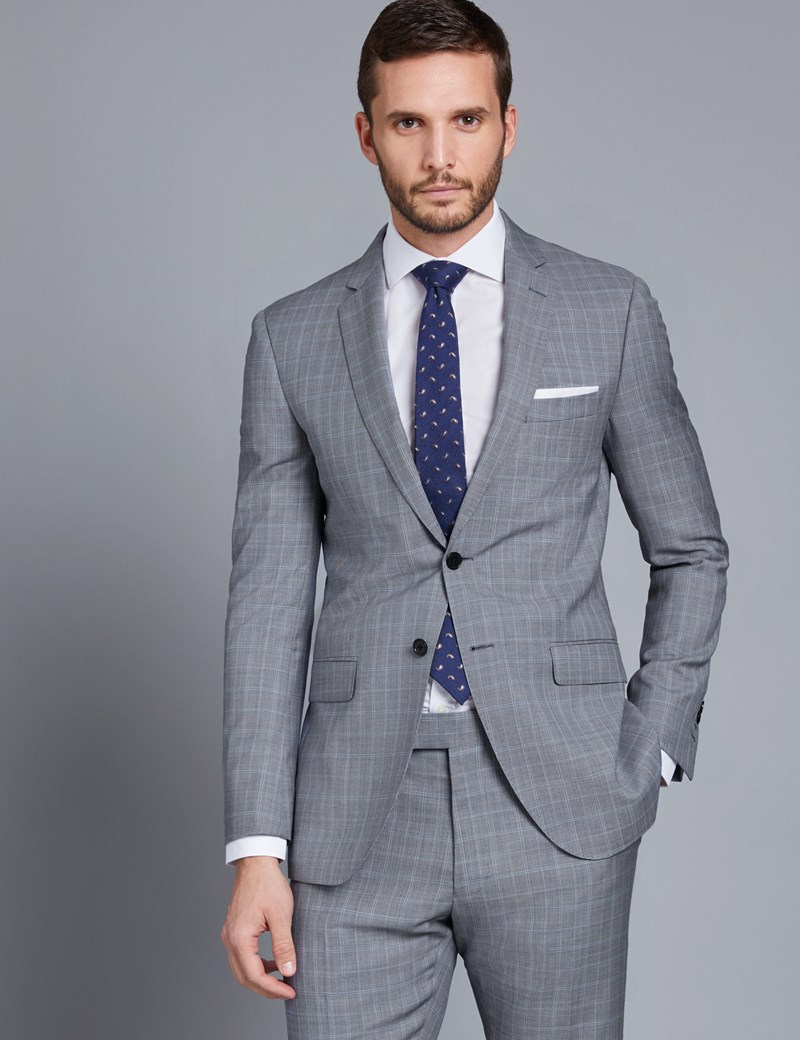 Men's Grey & Light Blue Small Plaid Slim Fit Suit Jacket