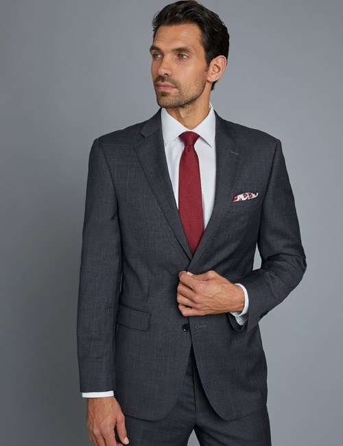 Men's Grey & Red Windowpane Classic Fit Suit Jacket