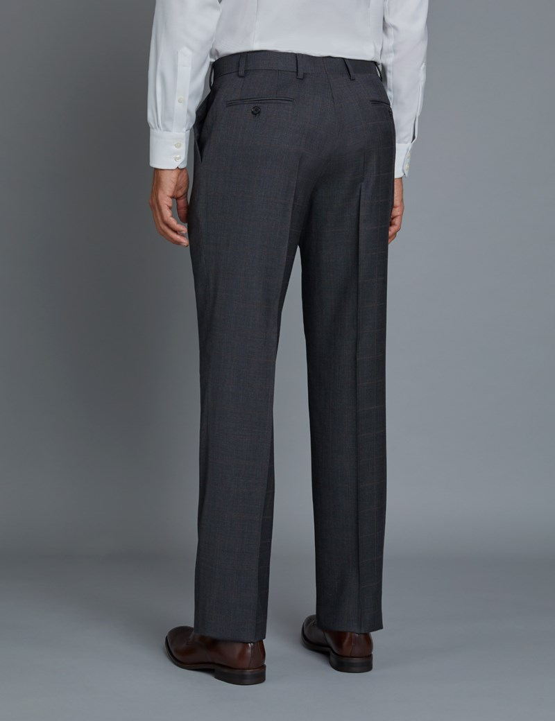 Men's Grey & Red Windowpane Classic Fit Suit