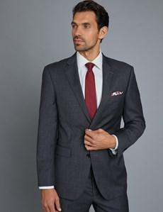 Men's Grey & Red Windowpane Classic Fit Suit