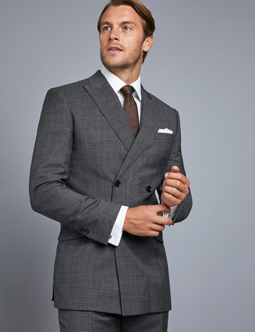 Men's Grey & Brown Prince Of Wales Check Extra Slim Fit Suit Jacket - Double Breasted
