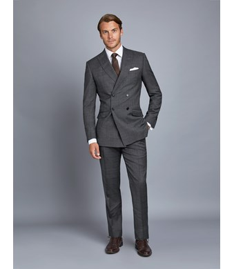 Men's Grey & Brown Prince Of Wales Check Extra Slim Fit Suit - Double Breasted