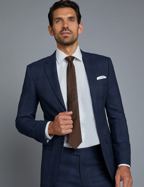 Men's Navy & Blue Prince Of Wales Check Extra Slim Fit Suit Jacket