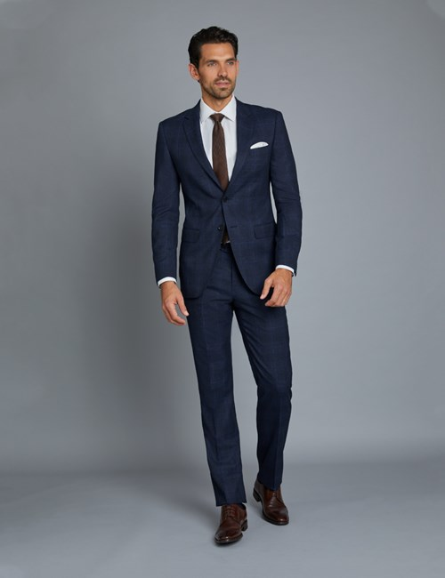 Men's Navy & Blue Prince Of Wales Check Extra Slim Fit Suit