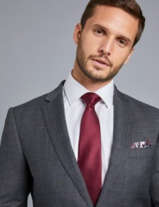 Men's Grey & Brown Prince Of Wales Check Slim Fit Suit Jacket