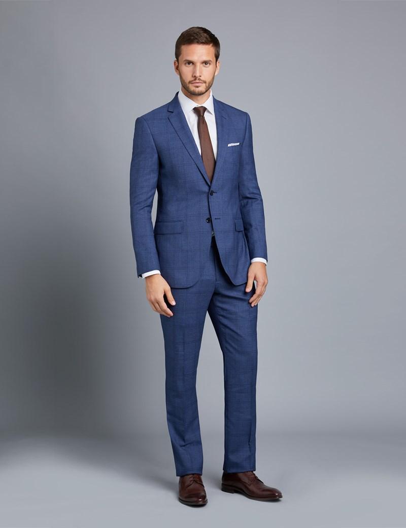 Men\u0027s Blue Plaid Slim Fit Suit
