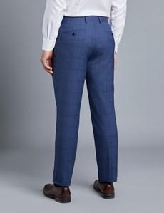 Anzug aus strapazierfähiger 100s Wolle - Slim Fit - Ultramarinblaues Karo
