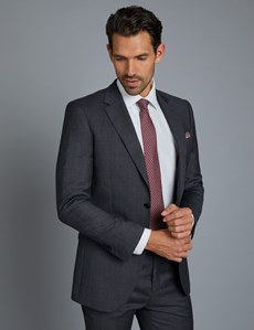 Men's Charcoal & Red Windowpane Check Slim Fit Suit