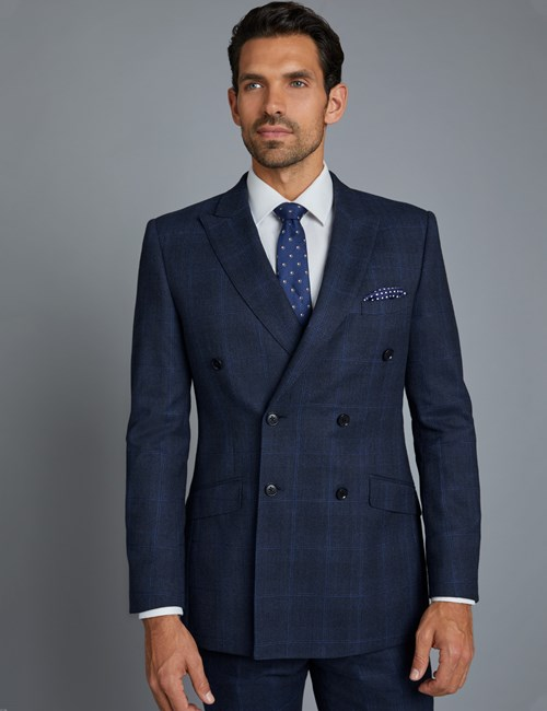Men's Navy & Blue Prince of Wales Windowpane Check Slim Fit Suit Jacket